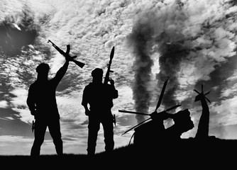 Silhouette of terrorists and blow up the helicopter