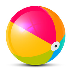 Colorful Vector Beach Ball Isolated on White Background
