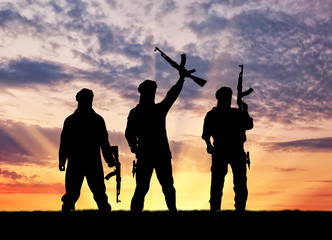 Silhouette of a terrorists