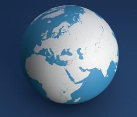 Planisfero mappa globo Siria, Europa, Africa, Asia e medio oriente