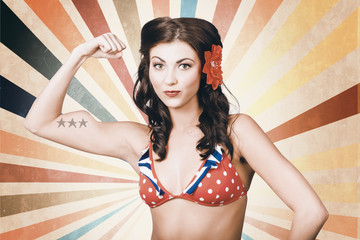 Beautiful pinup girl flexing muscle. womens rights