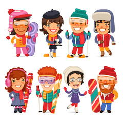 Cute Cartoon Skiers, Skaters and Snowboarders