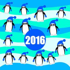 Blue christmas pinguins