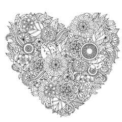 Hand drawing zentangle element. Black and white. Flower mandala.