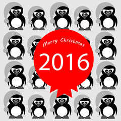 New year pinguins on grey
