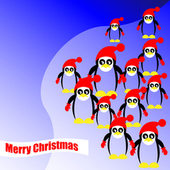 Many christmas pinguins