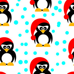 Seamless pinguins on white