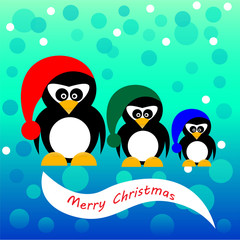 Three christmas pinguins