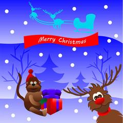 Christmas monkey and deer