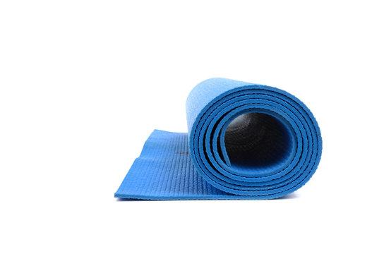 blue yoga mat isolated on white background