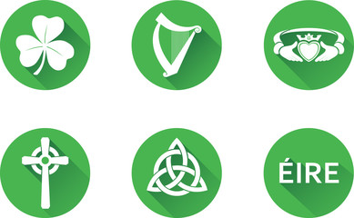 Ireland Flat Icon Set.