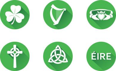 Ireland Flat Icon Set. Set of vector graphic flat icons representing symbols and landmarks of the Republic of Ireland.