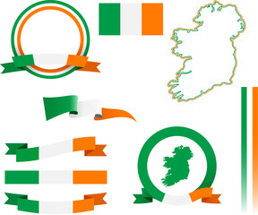 Ireland Banner Set. Set of vector graphic ribbons and banners representing the Republic of Ireland.