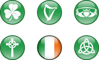 Ireland Glossy Icon Set. Set of vector graphic glossy buttons representing symbols and landmarks of the Republic of Ireland.