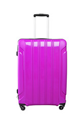 Purple travel bag on a black wheels, isolated on white background