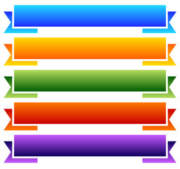 Set of colorful, blank banner, ribbon backgrounds.