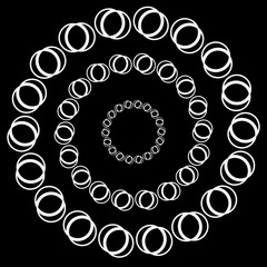 Circular motif, element in black and white. Vector art.