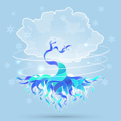 Vector background illustration with magic winter tree