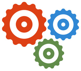Gear wheel, cog wheel vector on white