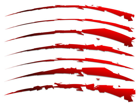 set of slash shapes isolated on white. claw mark, wound, rip vec