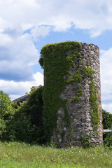 Old stone silo in countryside
