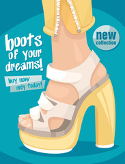 poster fashionable high heel shoe yellow and white