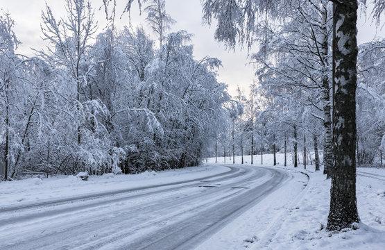 Snowy motor road