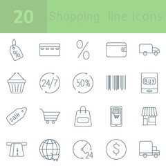 Shopping and E-commerce outline icons