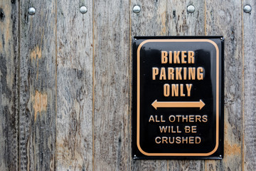 Humorous sign for biker parking