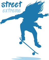 street extreme haired skater performs a trick silhouette