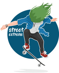 street extreme haired skater performs a trick