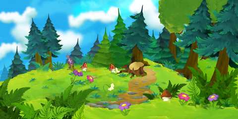 Cartoon happy and colorful forest scene - stage for different fairy tales - illustration for children