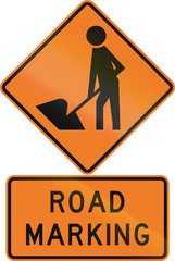 Road sign assembly in New Zealand - Road marking.
