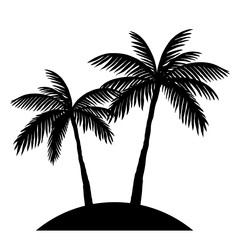 two palm trees silhouette