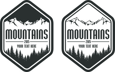 vector mountains emblems