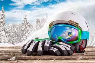 Fototapeta Colorful ski glasses, gloves and helmet obraz