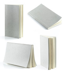 Collection of Grey book isolated on white