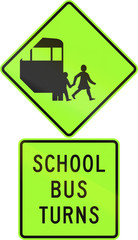 Road sign assembly in New Zealand - School bus turns, fluorescent version