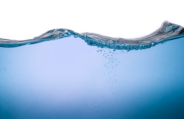 Water wave transparent surface with bubbles over white backgroun