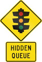 Road sign assembly in New Zealand - Hidden queue