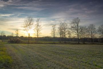 Beautiful colorful countryside sunset