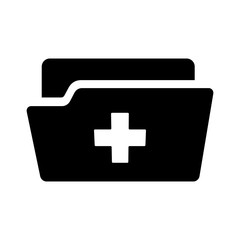 Medical or health record folder icon for app and website