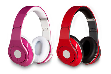 set of headphones in different colors on a white background