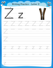 Writing practice letter Z