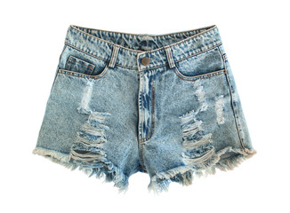 Ripped jeans shorts isolated on white background Fototapete