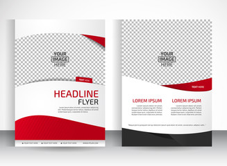 Vector design of the white flyer black red elements and place for pictures. Poster template for your business.