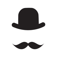 Cute Handdrawn Glasses, Hat and a Mustache Vector Illustration