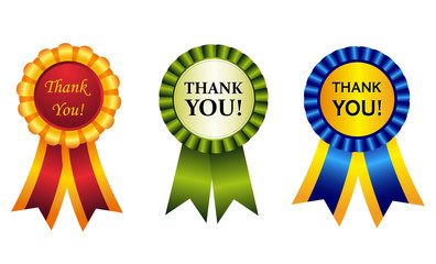 Thank you award ribbon rosette