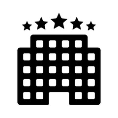 Five star luxury hotel flat icon for apps and websites