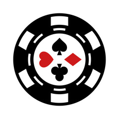 Casino gambling chip flat icon for apps and websites